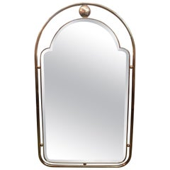 Italian Gio Ponti Style Brass Beveled Mirror