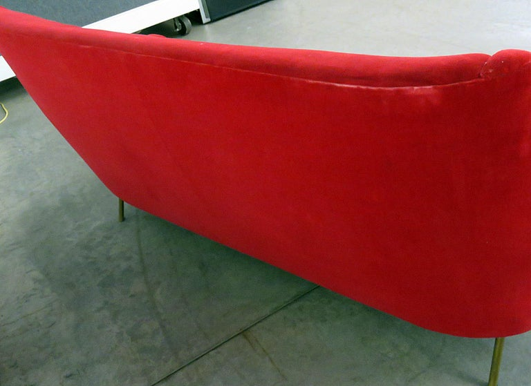 Brass Italian Gio Ponti Style Sofa For Sale