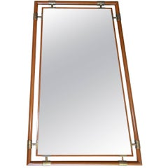 "Italian Gio Ponti Style Wood Brass ""Floating"" Wall Mirror"