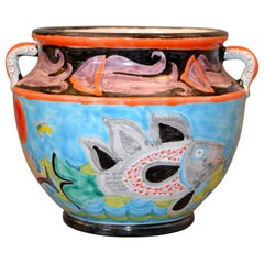 Italian Giovanni Desimone Hand Painted Art Pottery Bowl Handles Octopus, Italy