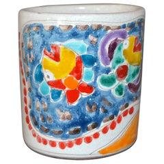 Italian Giovanni DeSimone Hand Painted Art Pottery Decor Mug, Cup Fisherman Net