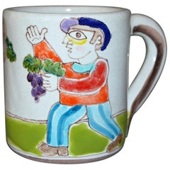Italian Giovanni Desimone Hand Painted Art Pottery Decor Mug, Cup Grape Picker