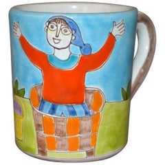 Italian Giovanni DeSimone Hand Painted Art Pottery Decor Mug, Cup Man in Basket