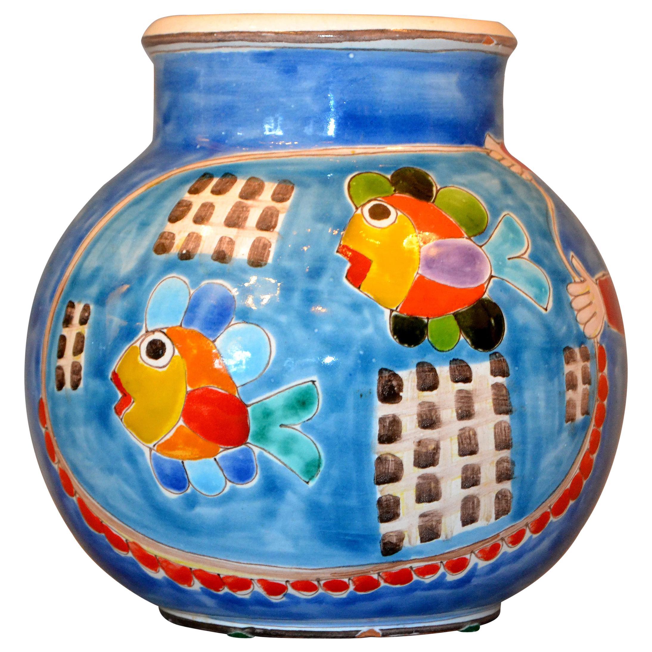 Italian Giovanni Desimone Hand Painted Art Pottery Fishermen and Nets Bowl Italy
