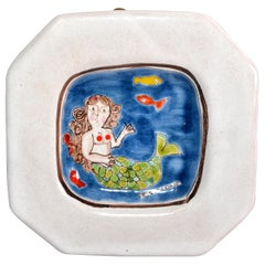 Italian Giovanni DeSimone Hand Painted Art Pottery Octagonal Decor Plate Mermaid