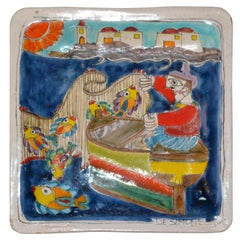 Italian Giovanni Desimone Hand Painted Art Pottery Square Decor Plate, Fisherman