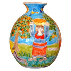Italian Giovanni Desimone Hand Painted Big Art Pottery Orange Picking Vase Italy