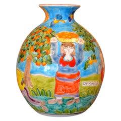 Italian Giovanni Desimone Hand Painted Big Art Pottery Orange Picking Vase Italy