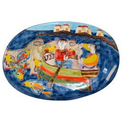 Italian Giovanni Desimone Hand Painted Pottery, Oval Wall Decor Plate, Fishermen