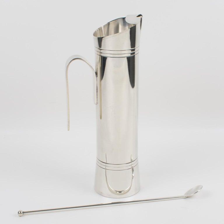 Mid-Century Modern Italian Giuliano Bossi Silver Plate Barware Cocktail Martini Pitcher