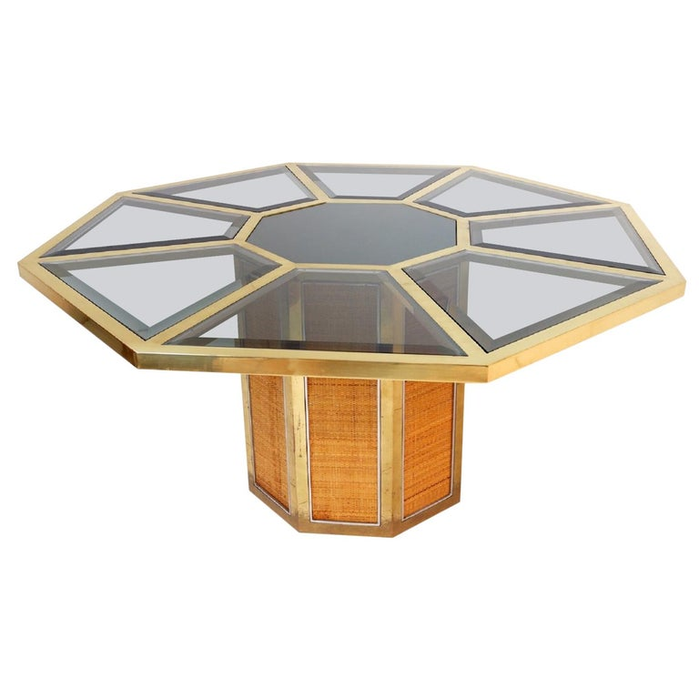 Italian Glam Octagonal Dining Table by Romeo Rega, 1970s For Sale