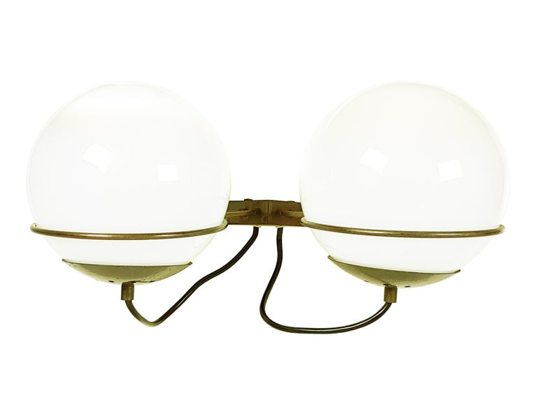 Space Age Italian Glass and Brass B519 Spherical Sconces from Candle, 1960s, Set of Two For Sale