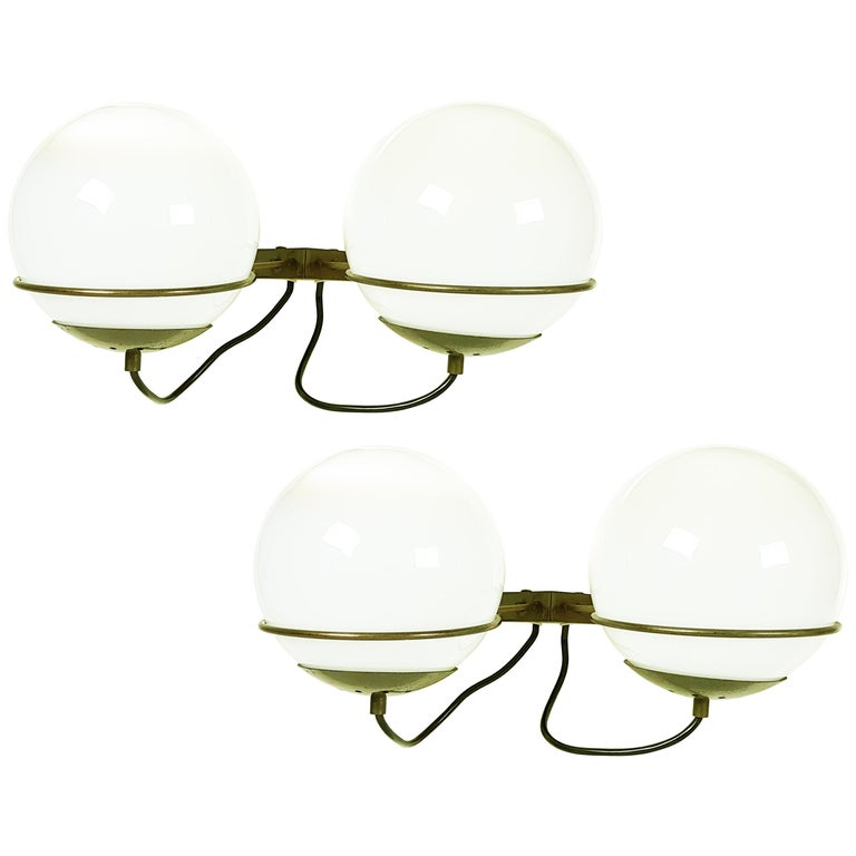 Italian Glass and Brass B519 Spherical Sconces from Candle, 1960s, Set of Two For Sale