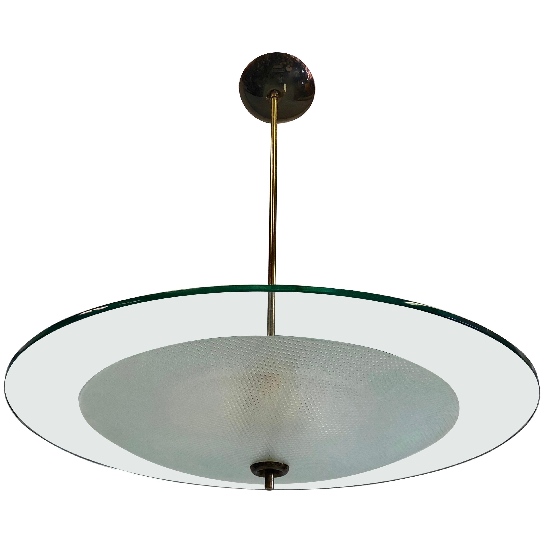 Italian Glass and Brass Chandelier by Gio Ponti & Pietro Chiesa for Fontana Arte