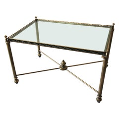 Italian Glass and Brass Rectangular Glass Coffee Table, circa 1970