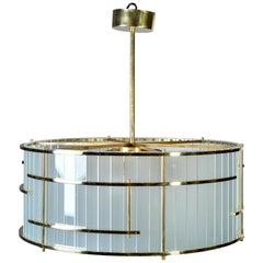 Italian Glass and Brass Tambour Style Six Light Fixture
