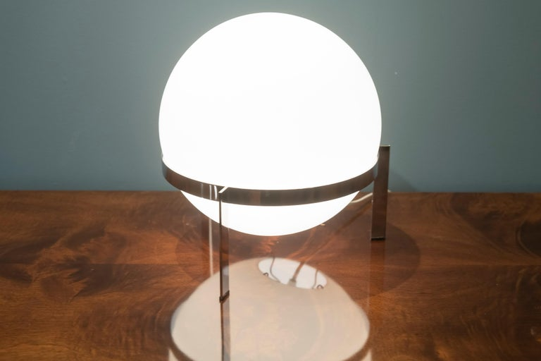 Italian Glass and Chrome Table Lamp For Sale 1
