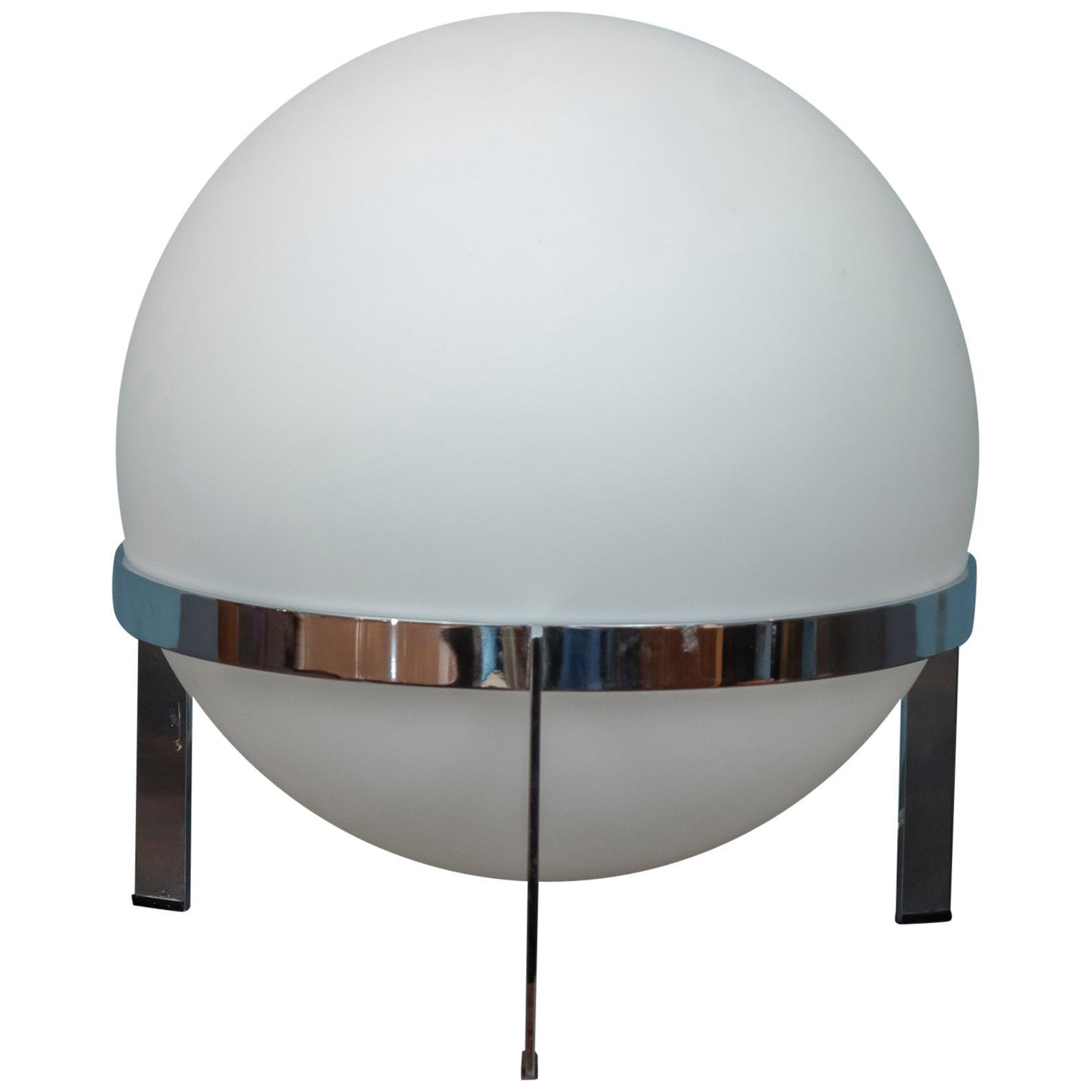 Italian Glass and Chrome Table Lamp
