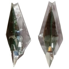 Italian Glass and Chromed Steel Sconces by Veca, 1970s