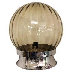 Italian Glass and Chromed Steel Table Lamp, 1970s