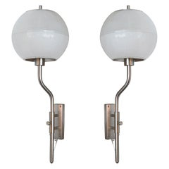 Italian Glass and Nickel Sconces in the Style of Luigi Caccia Dominioni