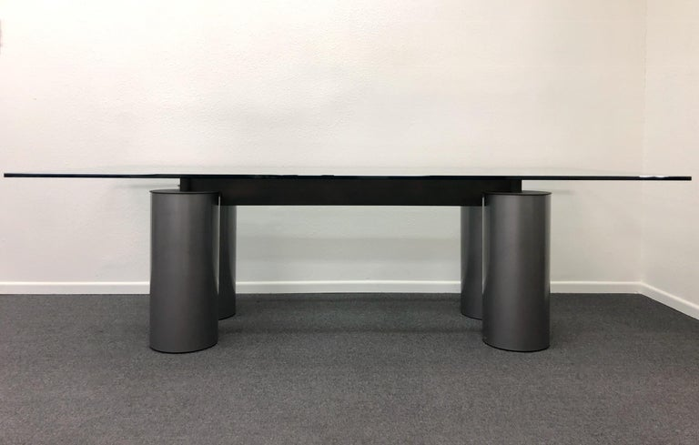 Post-Modern Italian Glass and Steel Dining Table by Vignelli for Acerbis For Sale