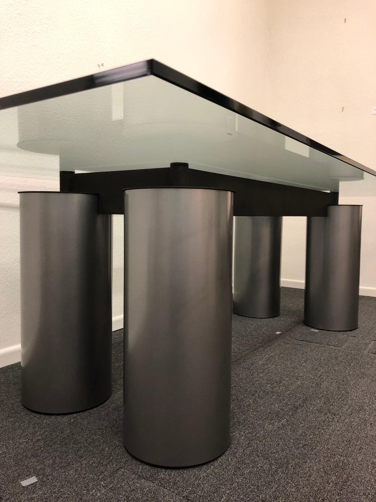 Late 20th Century Italian Glass and Steel Dining Table by Vignelli for Acerbis For Sale