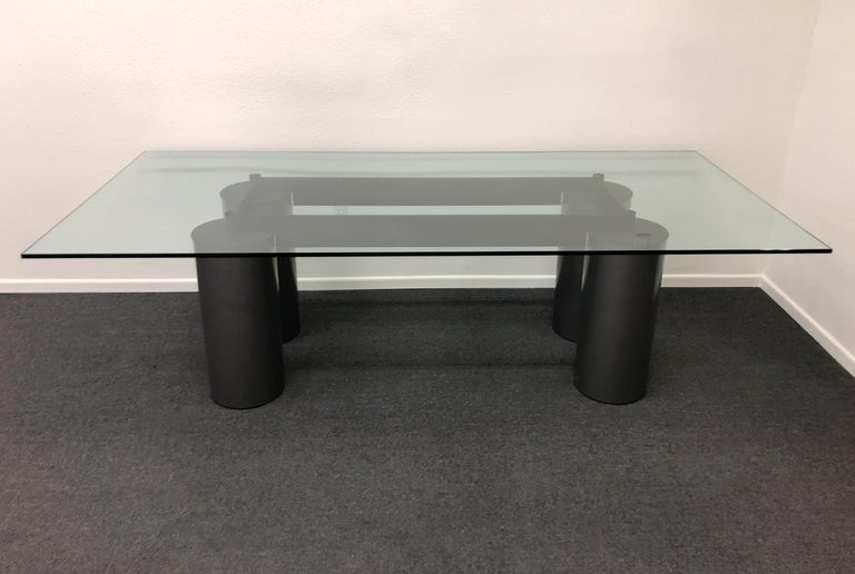 Italian Glass and Steel Dining Table by Vignelli for Acerbis For Sale 1