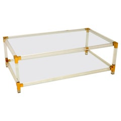 Italian Glass, Brass & Acrylic Coffee Table Vintage, 1970's