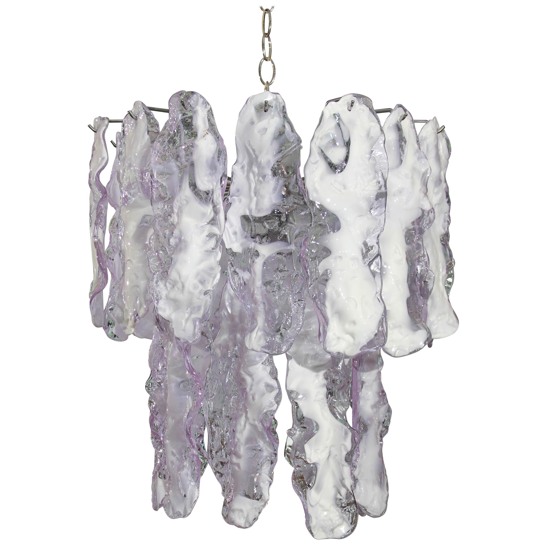 Italian Glass Chandelier in Lavender