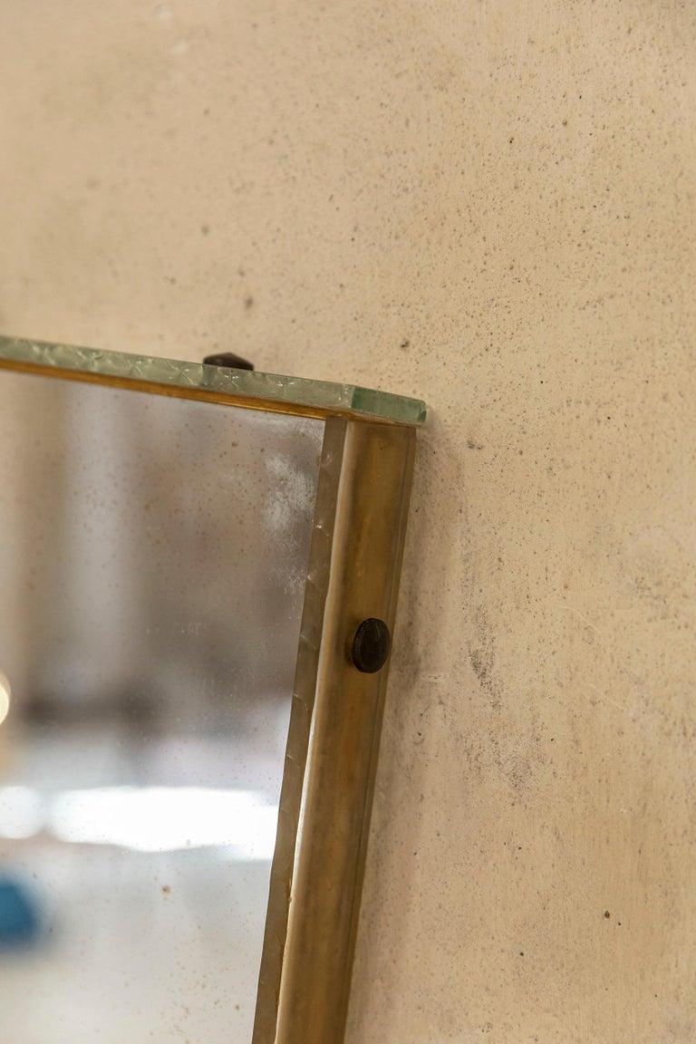 Mid-Century Modern Italian Glass Frame Mirror, Italy, 1950s For Sale