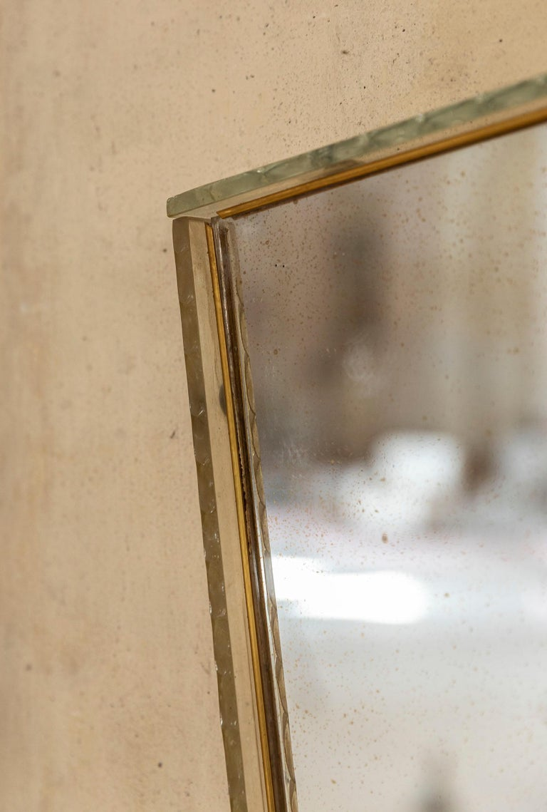 Italian Glass Frame Mirror, Italy, 1950s In Excellent Condition For Sale In Carpaneto Piacentino, Italy