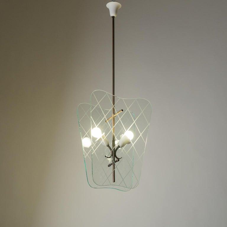 Mid-Century Modern Italian Glass Lanterns, 1940s For Sale