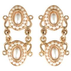 Italian Glass Pearls Oval Earrings