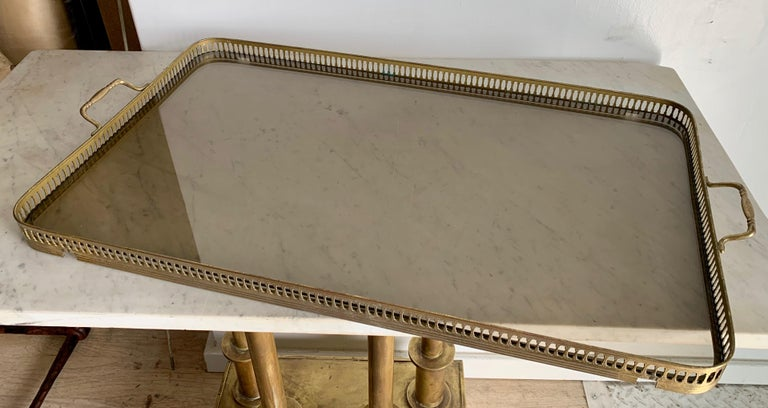 Italian Glass Tray Table with Brass Lion Detailing For Sale 5
