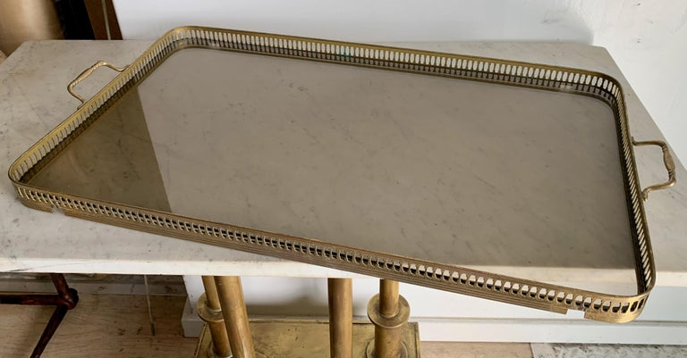 Italian Glass Tray Table with Brass Lion Detailing For Sale 6