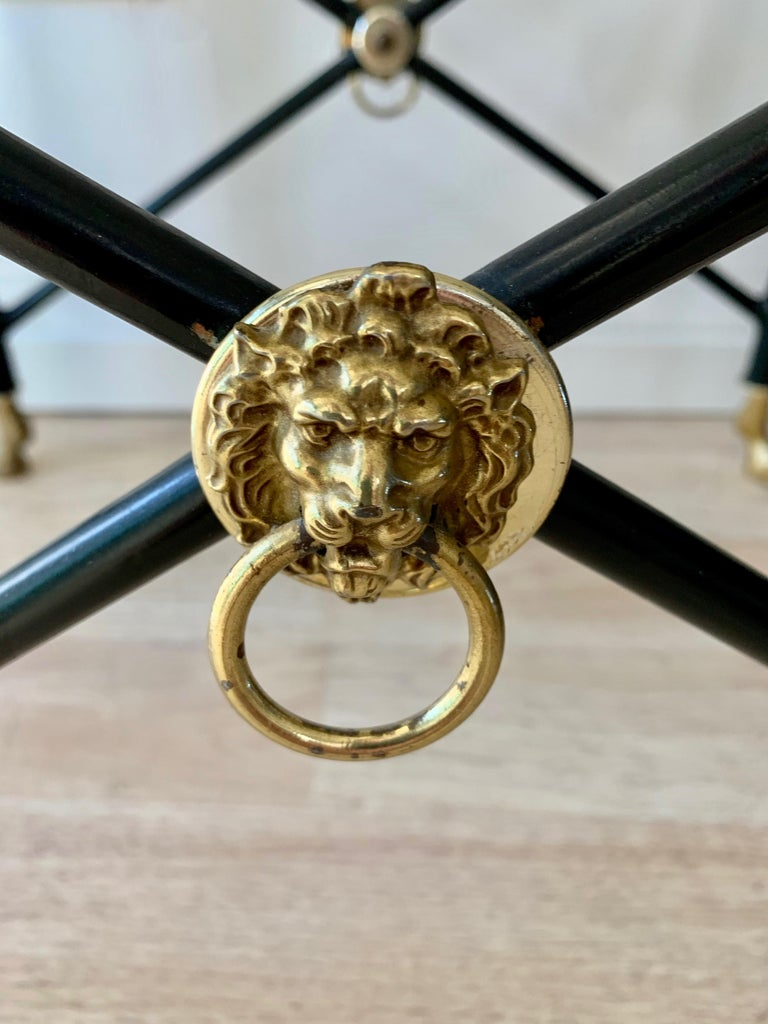 Metal Italian Glass Tray Table with Brass Lion Detailing For Sale