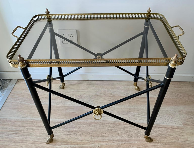 Italian Glass Tray Table with Brass Lion Detailing For Sale 1