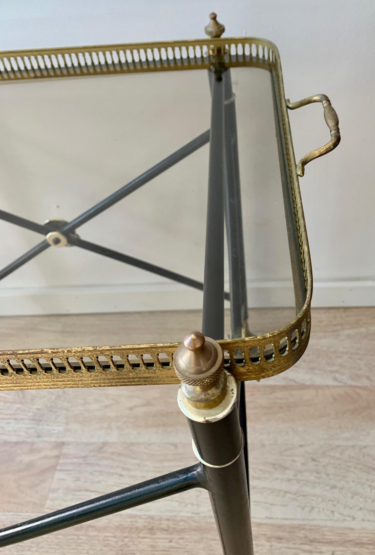 Italian Glass Tray Table with Brass Lion Detailing For Sale 2