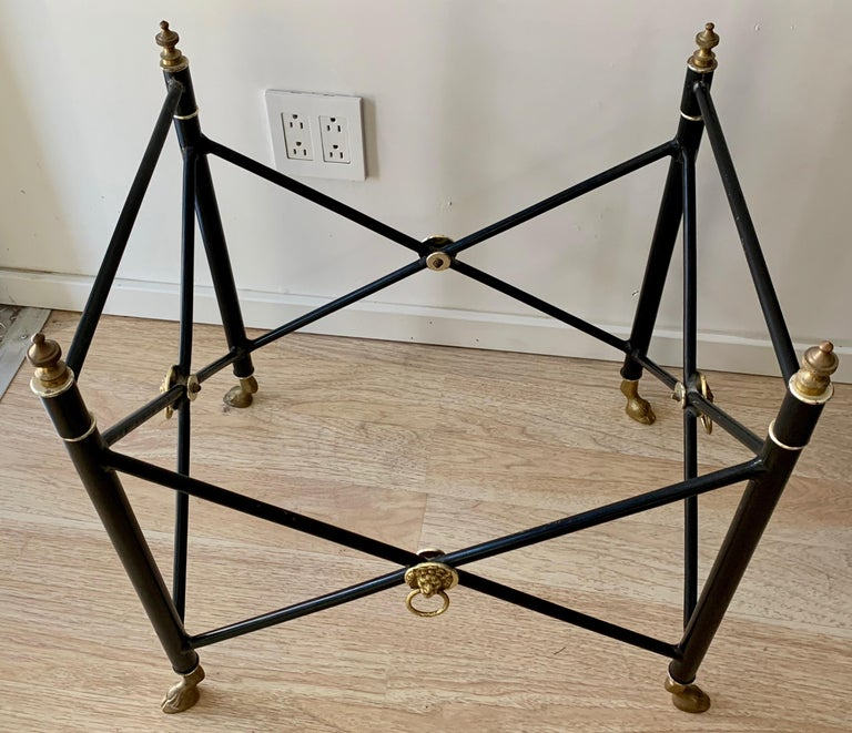 Italian Glass Tray Table with Brass Lion Detailing For Sale 3