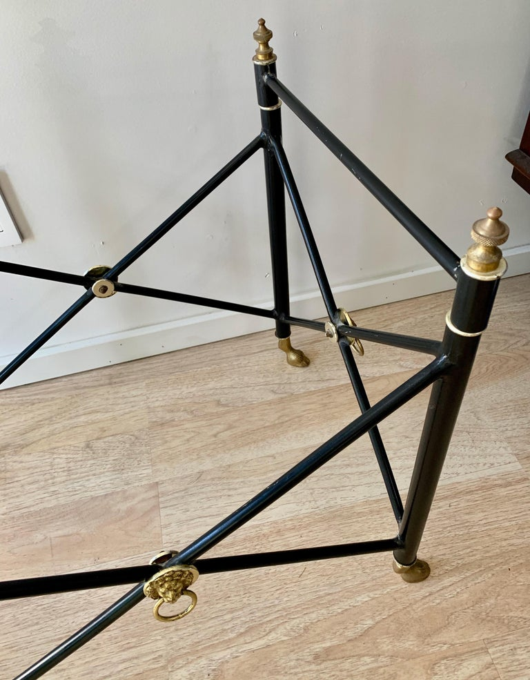 Italian Glass Tray Table with Brass Lion Detailing For Sale 4