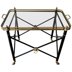Italian Glass Tray Table with Brass Lion Detailing