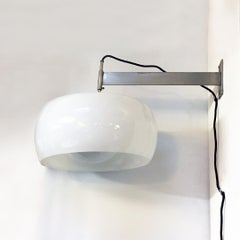 Italian glass wall lamp with arm Clinio by Vico Magistretti for Artemide, 1967
