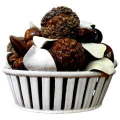 Italian Glazed Ceramic Basket of Mushrooms