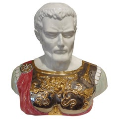Italian Glazed Ceramic Bust of a Classical Roman by Santa Monica