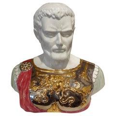 Italian Glazed Ceramic Bust of a Classical Roman by Santa Monica