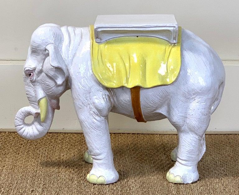 Italian Glazed Ceramic Elephant Garden Seat In Good Condition For Sale In Kilmarnock, VA