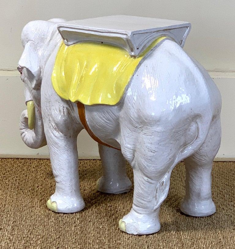 Mid-20th Century Italian Glazed Ceramic Elephant Garden Seat For Sale