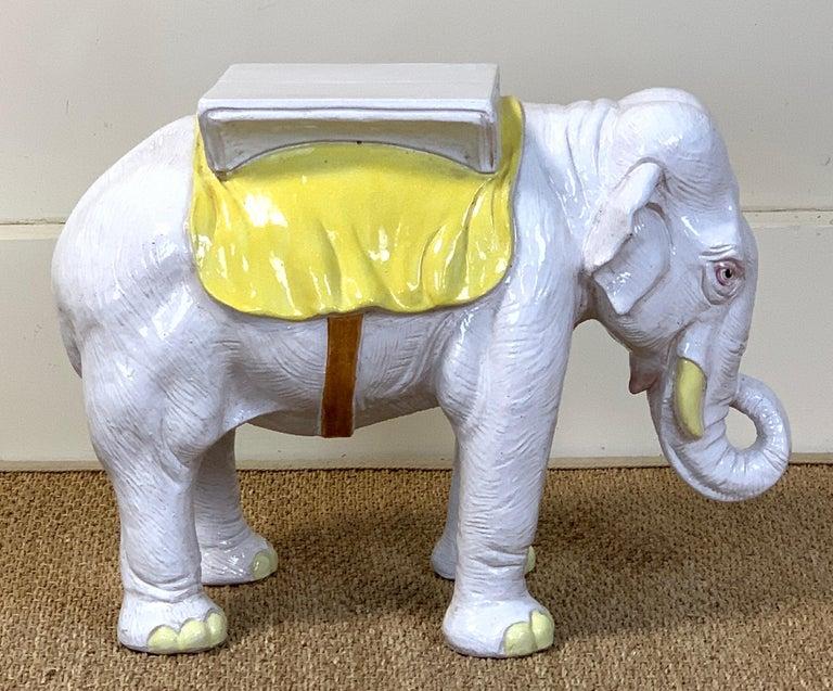 Italian Glazed Ceramic Elephant Garden Seat For Sale 2