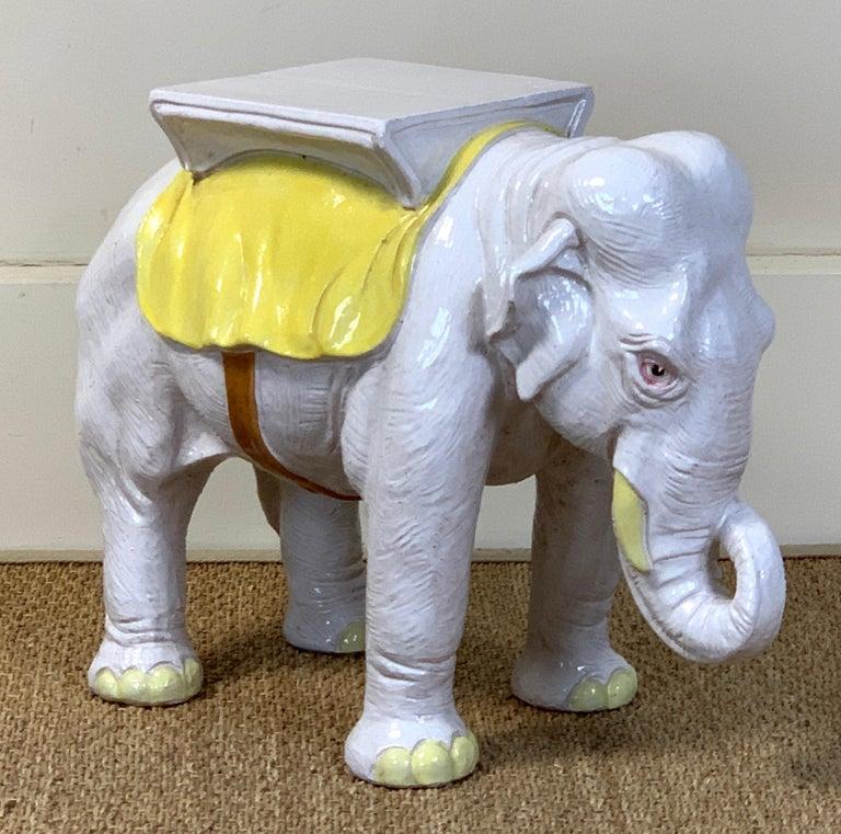 Italian Glazed Ceramic Elephant Garden Seat For Sale 3